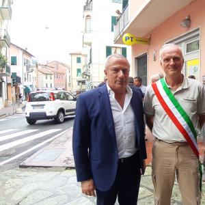 il presidente di atp, Sivori, il sindaco di Bargagli Sergio Casalini, ed il consigliere metropolitano ai trasporti Garbarino