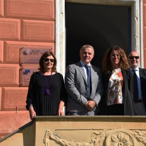 La direttrice dell'Accademia Vidotto, gli assessori regionali Benveduti e Cavo, il presidente dell'Accademia Massolo ed il consigliere di CMGE Garbarino