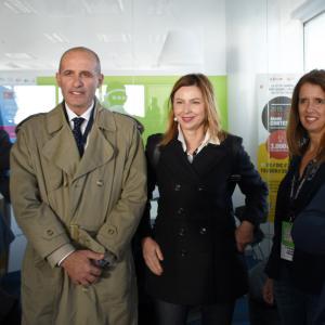 Prima giornata, sede di Liguria Digitale, Il consigliere Garbarino, la dottoressa Arzà e gli architetti Lonati e Garibaldi