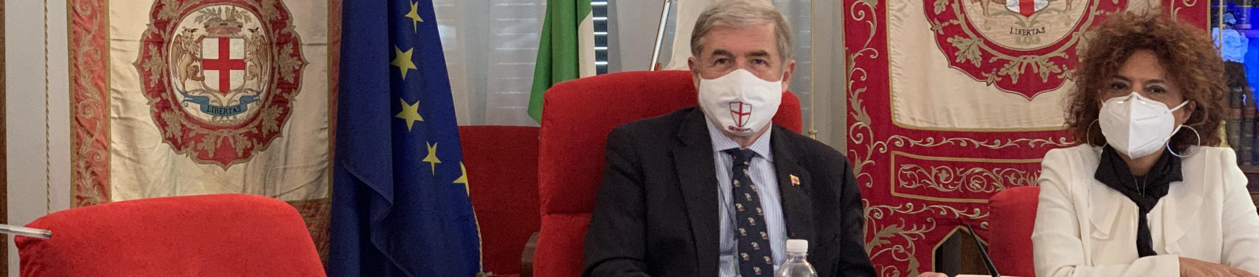 Il Sindaco Marco Bucci durante la seduta di Consiglio