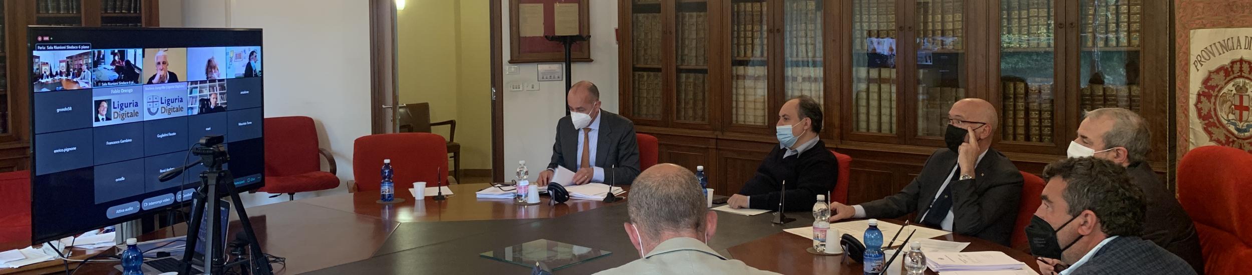 Alcuni Consiglieri collegati in videoconferenza da P.le Mazzini