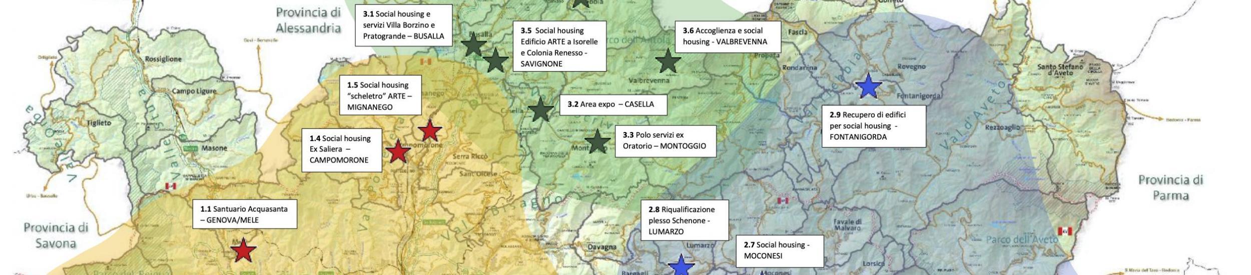 La mappa degli interventi previsti