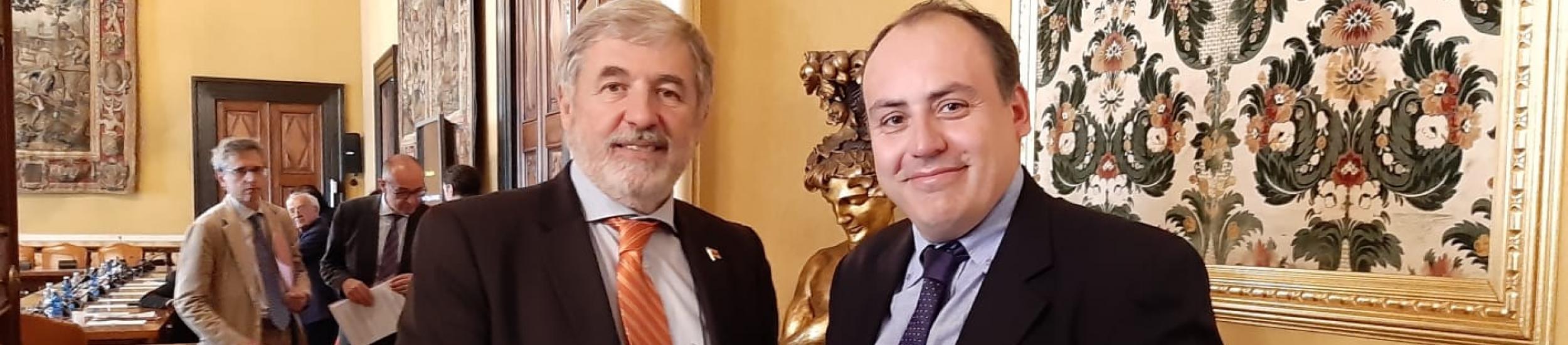 Il consigliere Marco Conti con il Sindaco Metropolitano Marco Bucci