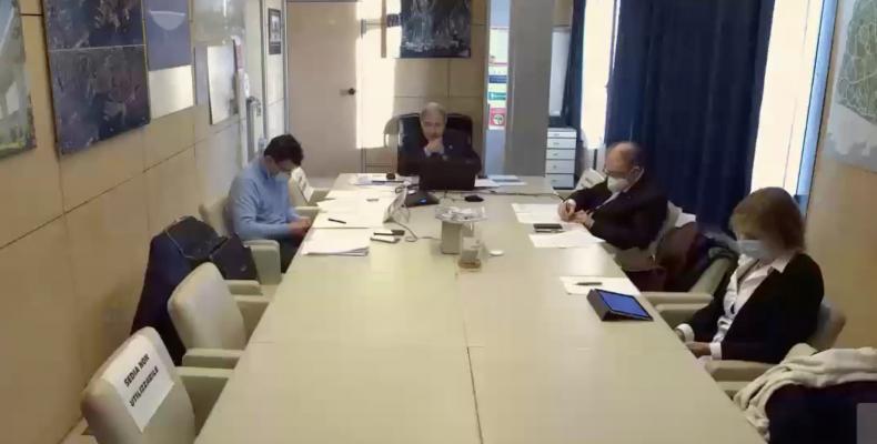 un momento della seduta in videoconferenza