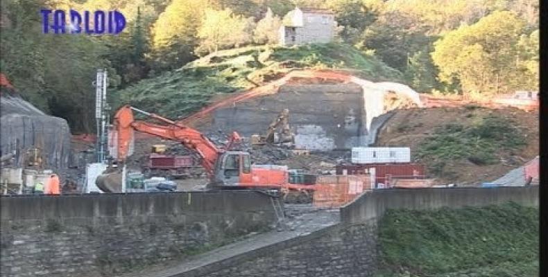 Cantiere per la costruzione del nuovo depuratore di Rapallo